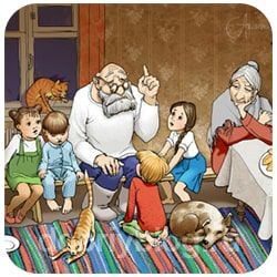 Дед рассказывает истории внукам