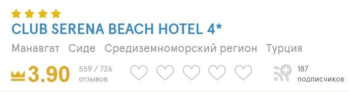 Рейтинг отеля Club Serena Beach Hotel 4*