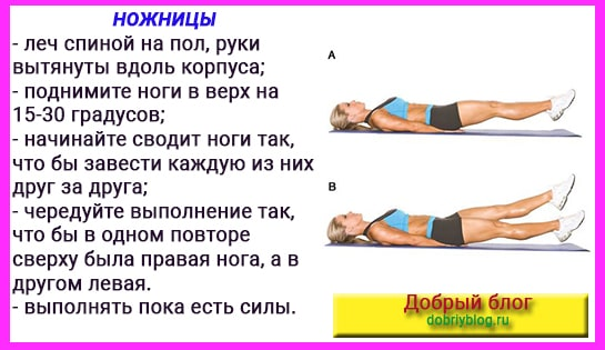 Упражнения для похудения бёдер. Ножницы.