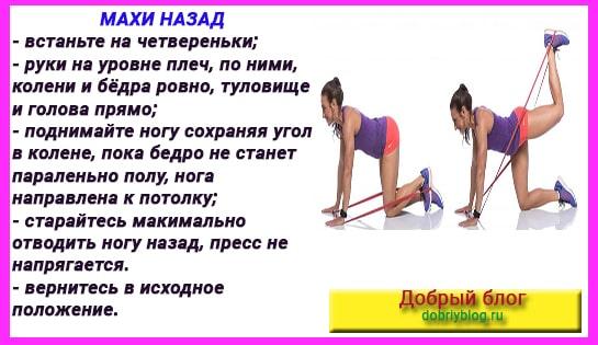 Как похудеть в бёдрах и ляшках. Махи ногами назад